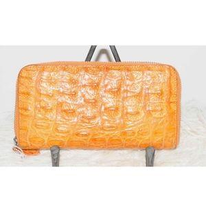 Handbags - Genuine Crocodile Large Orange Brown Wallet